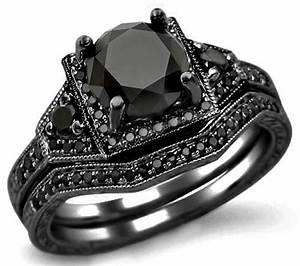 205ct black round diamond engagement ring bridal set 14k With all black wedding ring