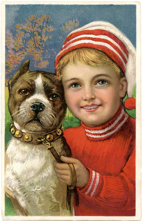 christmas picture adorable boy  dog