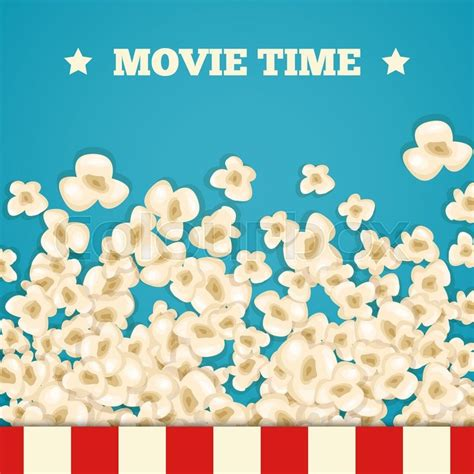 popcorn background heap popcorn for lies on blue background vector