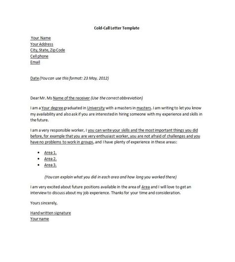 Cover Letter Sle by Cold Call Cover Letter Sle Cover Letter For Cold Work