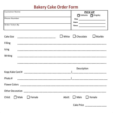 bakery order templates google docs pages