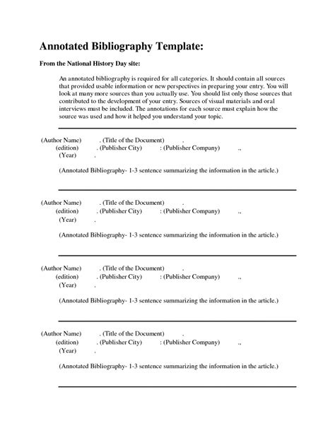 Blank Apa Format Template by Apa Format Annotated Bibliography Exle Template