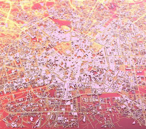 milan satellite view hand drawn stock illustration