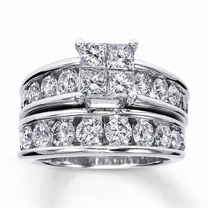 kay diamond bridal set 3 ct tw 14k white gold With 3 ct wedding ring set