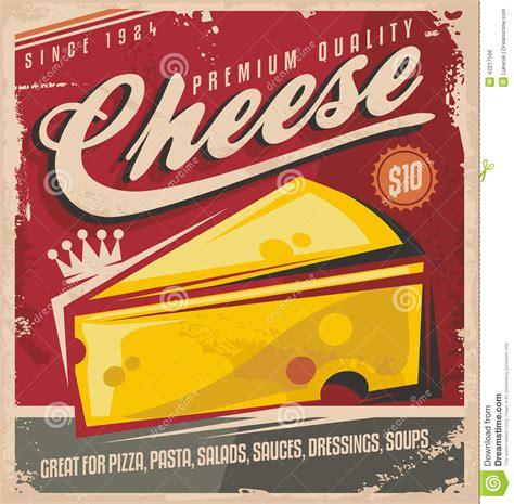 Cheese retro poster design stock vector. Image of