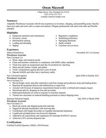 Resume Sles For Warehouse Manager by Distribution Manager Resume Best Resume Gallery