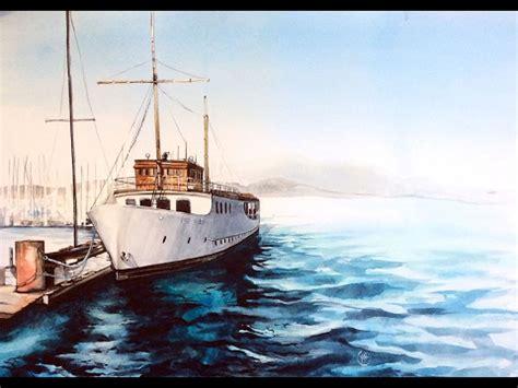 Watercolor Boat by Watercolor Boat At The Marina Painting Demonstration
