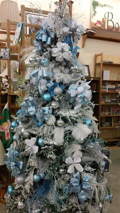 gorgeous ice blue themed christmas tree blue and silver