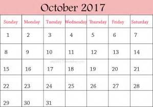 September October Calendar 2017 Printable