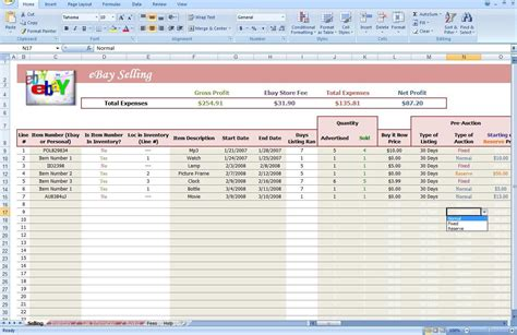 profit and loss excel spreadsheet ebay profit and loss spreadsheet ebay spreadsheet template