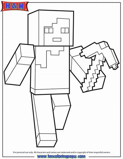 Minecraft Coloring Pages Colouring Steve Characters Sword