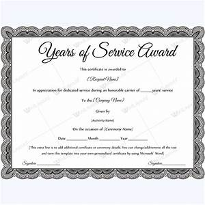 Sample of years of service award awardcertificate for Service anniversary certificate templates
