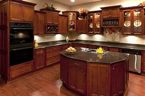 Gorgeous Cherry Kitchen Cabinets Black Granite Cherry Wood