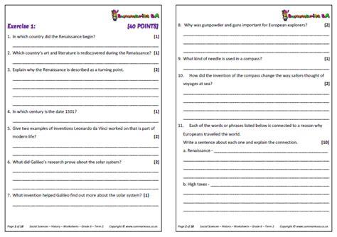 grade 6 social sciences geography history term 2