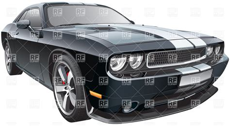 Modern Pony Sports Car With White Racing Stripes Vector