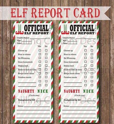 printable elf report card instant
