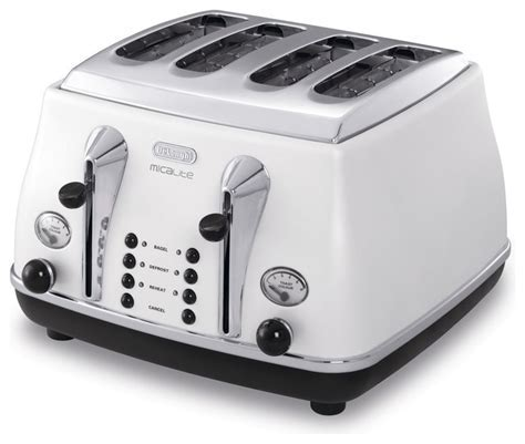 Delonghi white pearlescent four slice Micalite toaster
