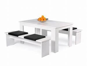 Tischgruppe Mit Bank Und Stühlen : tischgruppe hamburg esstisch 160x90 cm 2x bank wei 4x kissen schwarz wohnbereiche esszimmer ~ Bigdaddyawards.com Haus und Dekorationen