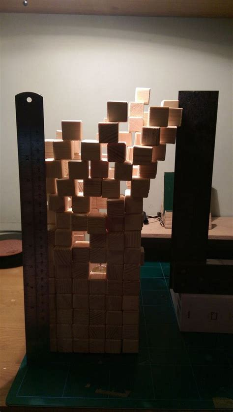 This Guy Made His Own Wooden Pixel Lamp From 300 Separate