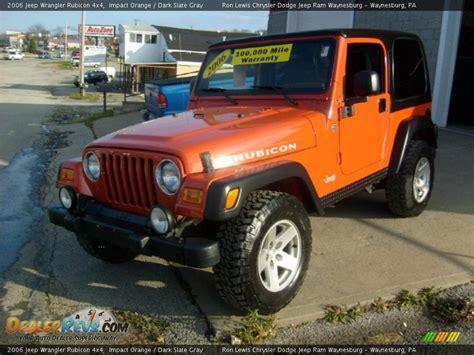 jeep rubicon orange 2006 jeep wrangler rubicon 4x4 impact orange dark slate