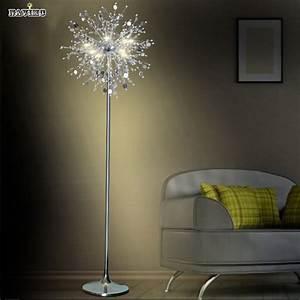 Crystal living room stand floor lamp modern flower floor for Led flower floor lamp