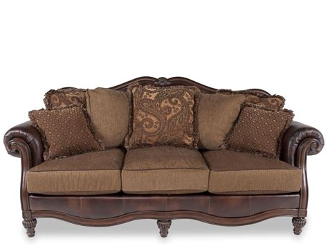 sofas tables and more traditional 91 quot rolled arm sofa in brown mathis brothers