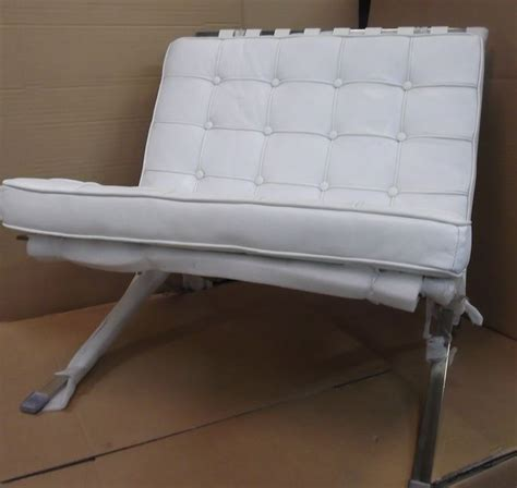 x display white leather barcelona cushion cushioned chair