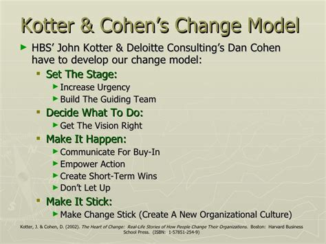 Kotter And Cohen The Heart Of Change by Leading Change Pp