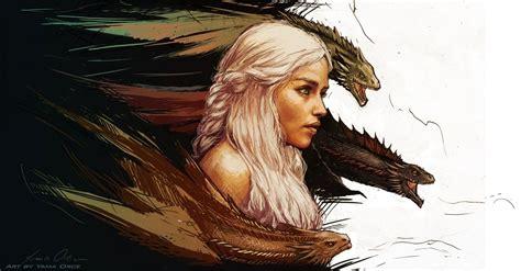 game  thrones daenerys targaryen art fantasy dragon