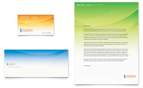 computer  services business card letterhead template