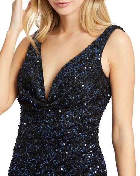 Product don't have any reviews. Mac Duggal Sequin V-Neck Sleeveless Thigh-Slit Gown ...