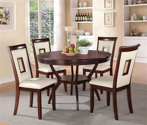 oswell  piece dining room set  cream chairs  acme