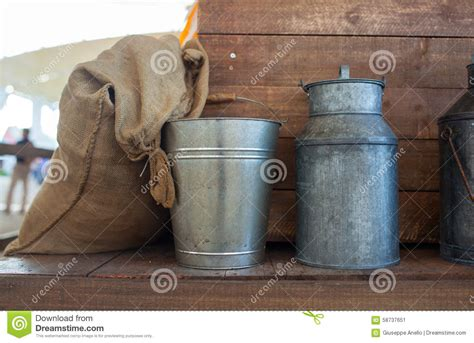 Jute Bag And Iron Bucket Stock Photo