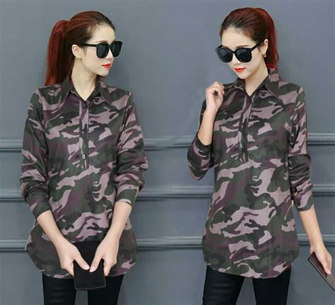 baju kemeja wanita lengan panjang motif army ryn fashion