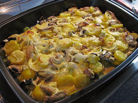 schnelle kartoffel rezepte schnelles saftiges kartoffel pilz gratin bine66 chefkoch de
