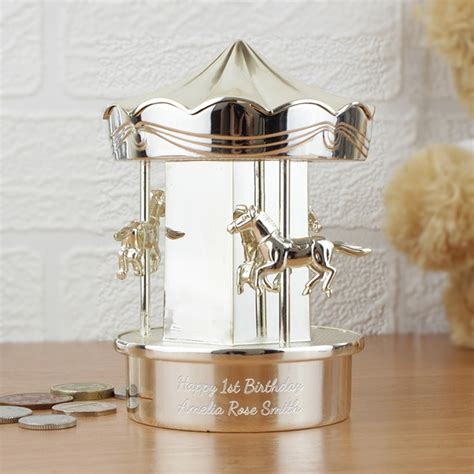 childrens piggy beautiful personalised silver carousel box