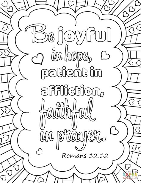 prayer coloring pages be joyful in patient in affliction faithful in