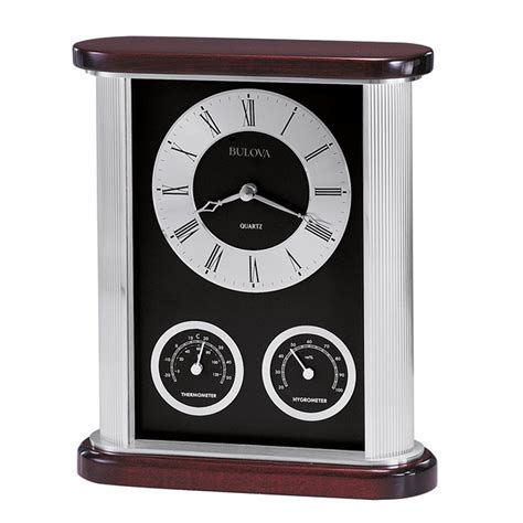 Bulova Desk Clock And Picture Frame by Belvedere Desk Clock With Thermometer And Hygrometer