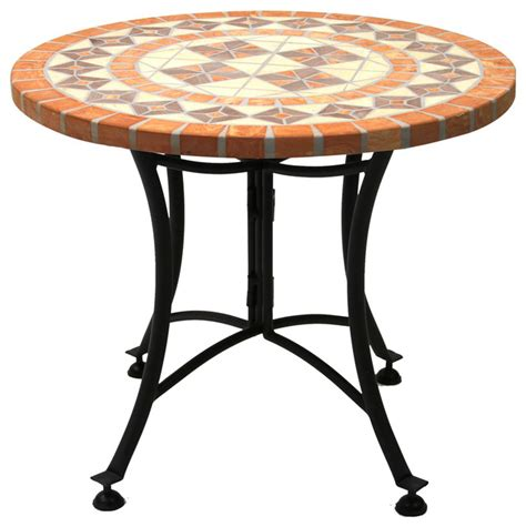 terra cotta mosaic accent table with metal base outdoor