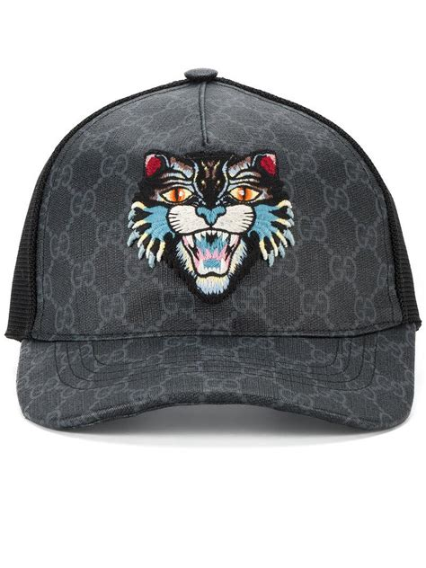 gucci cotton gg supreme angry cat baseball cap black