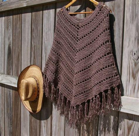 fringed poncho boho poncho crochet poncho fringed poncho in mocha brown