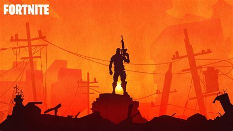 fortnite warrior silhouette  sunset hd  wallpaper