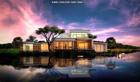 models houses villas lake front house