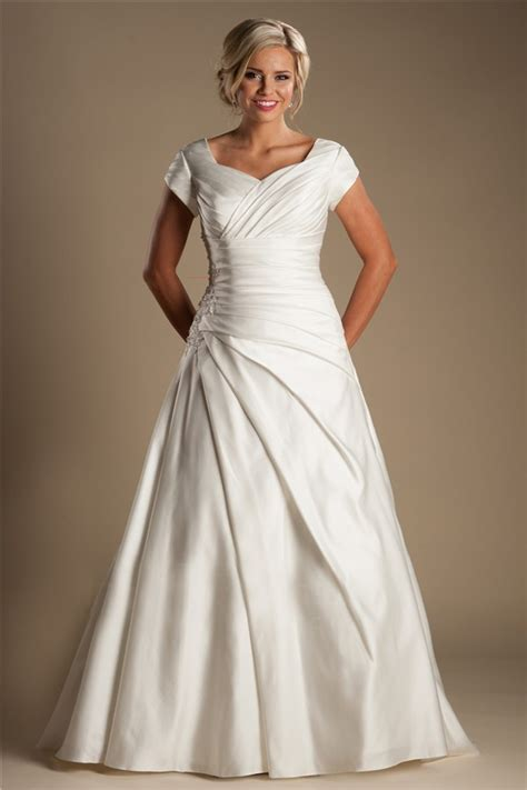 modest   sleeve ivory satin draped wedding dress
