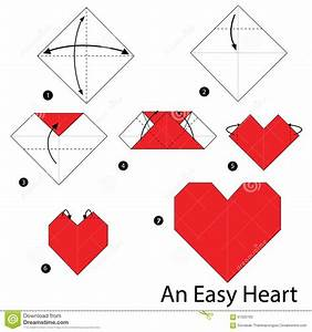 Faire Des Origami : instructions tape par tape comment faire origami un coeur facile illustration de vecteur ~ Nature-et-papiers.com Idées de Décoration