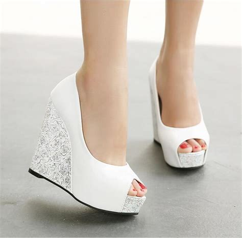 white wedding wedges shoes in stock 2016 cheap high wedge heel white blue bridal wedding shoes peep toe wedding sandals 12