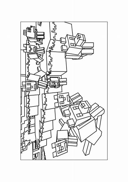 Minecraft Coloring Pages Printable Drawing Wolf Creeper