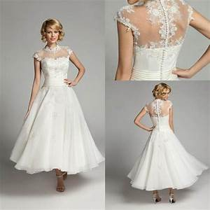 Elegant ivory lace tea length wedding dresses sheer for Short length wedding dresses