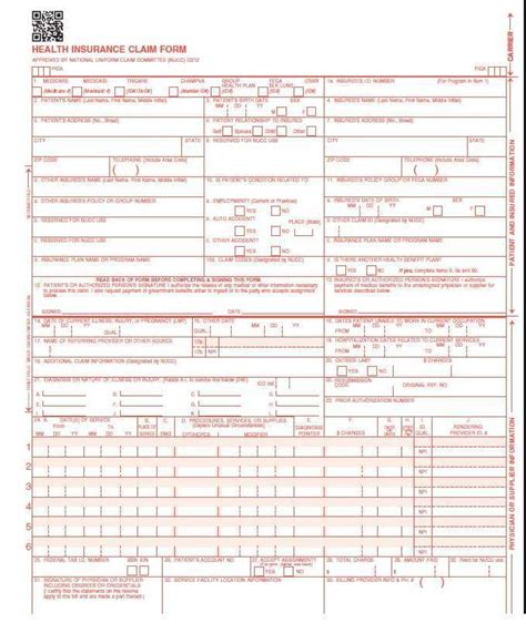 medicare 1500 form cms 1500 hcfa claim forms new version 02 12 laser 125