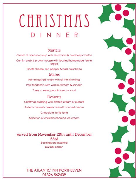 christmas party menu and new year s eve dinner 2015 the